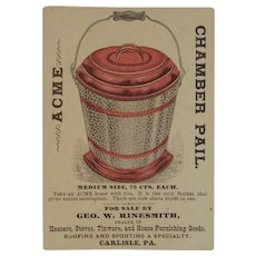 Acme Chamber Pail Bucket Trade Card Victorian Advertising Sold by Rinesmith of Carlisle, PA Thunder Pot and Baby with Pipe