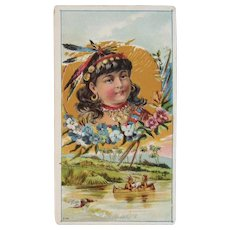 Indian Maiden and Braves Ad Trade Card Victorian Era Advertising Fissel Boiling Springs, PA Native American