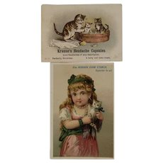 2 Victorian Kitty Cat Advertising Trade Cards Krause's Headache Capsules and Niagara Starch