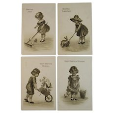4 German Easter Postcards Sepia Tone Gottschalk Dreyfuss and Davis Germany Series 2676 circa 1915