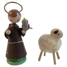 Wood Saint Francis of Assisi Miniature Italian Christmas Ornament and Wood Mini Sheep Ornament Franciscan Friar Italy