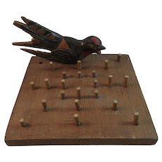 Primitive Wood Folk Art Game Board with Hand Carved Painted Bird Pennsylvania