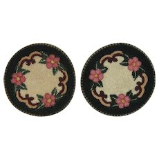 2 Occupied Japan Hand Hooked Dollhouse Rugs