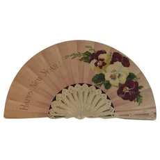 Victorian Pansies Fan Shaped New Year Card Die Cut Pansy Flowers