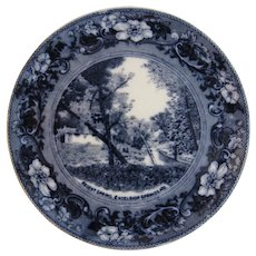 Regent Spring Excelsior Springs Missouri MO Flow Blue Plate by Wheelock of England English American Historical Scene