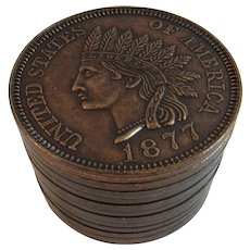 Indian Head Penny Bank Die Cast Metal Liberty One Cent