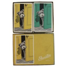 Sheraton Rover Scottie Dog Double Deck of Playing Cards in Original Box Card Vintage
