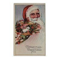 1916 Santa and Toys in Flowing Beard Christmas Postcard Embossed