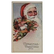 1916 Santa and Toys in Flowing Beard Christmas Postcard Embossed