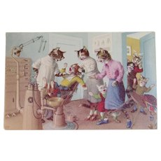 Alfred Mainzer Dressed Cats Postcard At the Dentist 4872