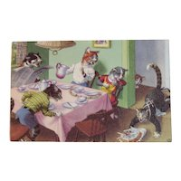 Alfred Mainzer Dressed Cats Postcard Cats Dropping the Birthday Cake 4906