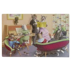 Alfred Mainzer Dressed Cats Postcard Musical Piano Singing Chasing Mice 4892