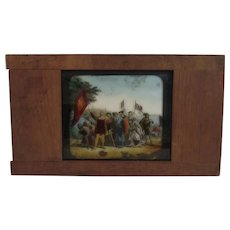 Columbus Discovering America Wood Mounted Color Magic Lantern Slide with Native Americans