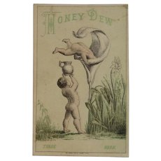 Honey Dew Balm Fantasy Victorian Trade Card with Cherubs and Large Flower