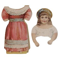 Electric Lustre Starch Paper Doll Victorian Advertising Little Girl in Pink and Blue Dress