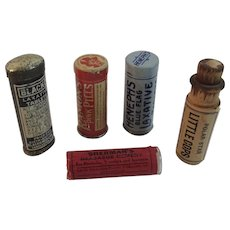 5 Vintage Medical Tins and Bottle Ramon's Pink Pills Blacko Heneph's Laxative Sherman's Headache Remedy Pills and Polar Star Little Cops