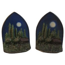 Art Deco Moon Over Log Cabin in Pine Trees Bookends Book Ends Cast Iron Original Paint