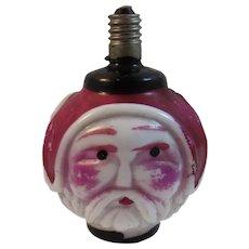 Working 3 Face Santa Claus Figural Milk Glass Christmas Light Bulb