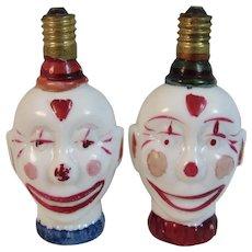 2 Working Clown Figural Milk Glass Christmas Light Bulbs