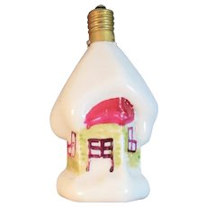 Working Snowy Cottage Figural Milk Glass Christmas Light Bulb