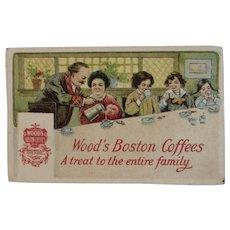Wood's Boston Coffees Victorian Trade Card