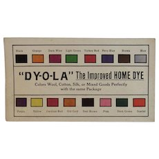 Dy-O-LA Advertising Trade Card Dyola Home Dyes with Color Samples
