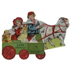 Lion Coffee Paper Toy Series The Billy Goat and Cart with Dolls Die Cut Trade Card Advertising