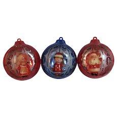 Santa Mrs. Claus and Elf Diorama Hard Plastic Christmas Ornaments by JewelBrite Mid Century Jewel Brite