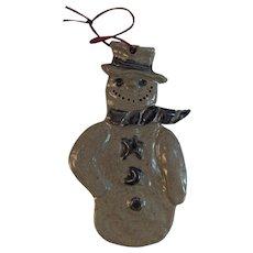 Rowe Pottery Snowman Christmas Ornament Salt Glazed Stoneware 1992