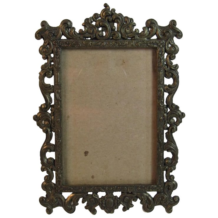 Italian Cast Metal Filigree Frame Made in Italy Ornate Easel Style ...