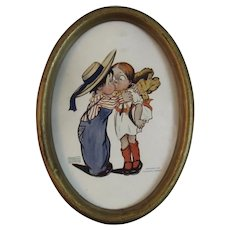 1906 Katharine Gassaway Bliss Print in Oval Tin Frame from the American Kids Series