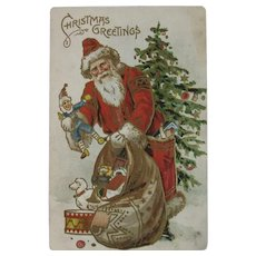 Santa Claus Pack of Toys and Christmas Tree Embossed Postcard