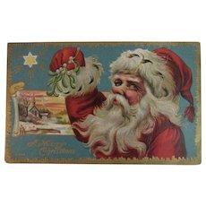Jolly Santa Claus Embossed Christmas Postcard