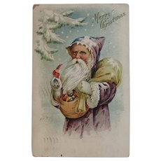 1911 Purple Robe Santa Embossed Postcard with Bag of Toys Christmas