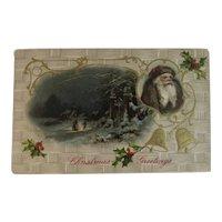 German Red and Brown Robe Santa Christmas Postcard Embossed Germany