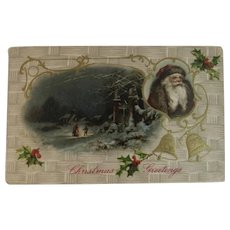 German Brown Robe Santa Christmas Postcard Embossed Germany