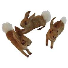 3 West German Kunstlerschutz Handwerk Hand Made Flocked Fuzzy Bunny Rabbits Cotton Tail Germany Vintage