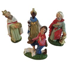 Italian Paper Mache Wise Men and Goat Herder Nativity Figurines Made in Italy Goat Magi Three Kings 3