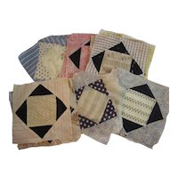20 Vintage Quilt Squares Printed Cottons and Sheer Fabrics