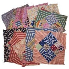 9 Vintage Quilt Squares Vintage Feedsack Fabrics