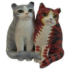 Lucy and Ethel Classical Cats by Martin Leman Hand Painted Pewter Miniature Figurine in Original Box