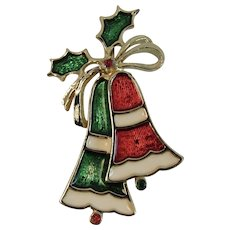 Beatrix Christmas Bells Enamel Signed Pin