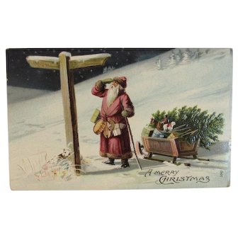 German Santa Postcard Reading Directional Sign Otto Schloss Germany with Sleigh of Toys and Tree