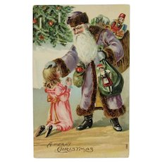 German Purple Robe Santa Postcard with Toys and Little Girl Merry Christmas Germany 1908
