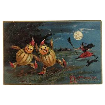 Tuck German Halloween Postcard Pumpkin Gourd Men With Black Cat Series 150 Tuck's Embossed Hallowe'en