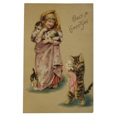 German Girl with Kitty Cats Postcard Unused Germany