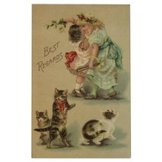 German Girls with Kitty Cats Postcard Unused Germany