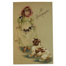 German Girl with Puppy Dogs Postcard Unused Germany