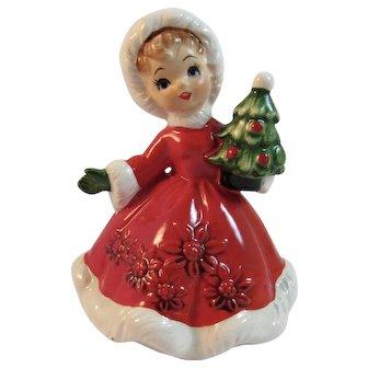 Lefton Christmas Girl with Tree 6604 Vintage Japan Ceramics