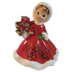 Lefton Christmas Girl with Poinsettia 6604 Vintage Japan Ceramics